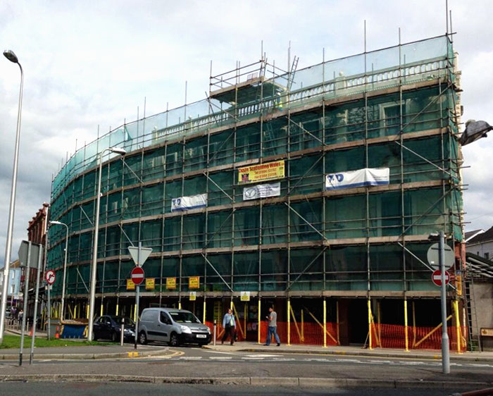 Scaffolding Roof for School in Wales