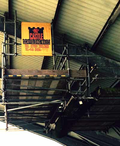 Suspended Scaffolding Gantry for Narbeth Rugby Club by Castle Scaffolding