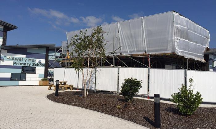 Scaffolding Roof for School in Wales